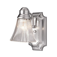 Argenta 1 Light 5 inch Brushed Nickel Wall Sconce Wall Light in Clear Glass Ribbed - Flared