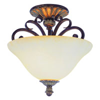 Trans Globe Ebony 2 Light Semi-Flush Mount in Ebony Gold 2574-EBG