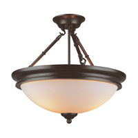 Hunters Lodge 3 Light 18 inch Rubbed Oil Bronze Semi-Flush Mount Ceiling Light