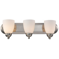 Clayton 3 Light 24 inch Brushed Nickel Vanity Bar Wall Light