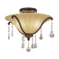 Trans Globe Lighting Crystal Flair 2 Light Semi-Flush Mount in Antique Bronze 3963