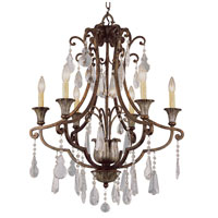 Trans Globe Lighting Crystal Flair 6 Light Chandelier in Antique Bronze 3966
