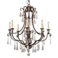 Trans Globe Lighting Crystal Flair 8 Light Chandelier in Antique Bronze 3968