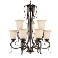 Trans Globe Lighting New Century 9 Light Chandelier in Black 3999-BK