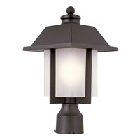 Trans Globe Pagoda Cap 1 Light Outdoor Post Light in Black 40113-BK