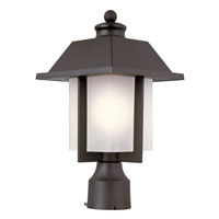 Trans Globe Pagoda Cap 1 Light Outdoor Post Light in Black 40115-BK