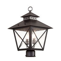 Trans Globe Chimney 2 Light Outdoor Post Light in Black 40173-BK