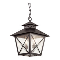 Trans Globe Chimney 2 Light Outdoor Hanging Lantern in Black 40174-BK