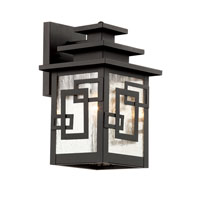 Trans Globe Geo Tempo 1 Light Outdoor Wall Lantern in Weathered Bronze 40180-WB