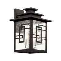 Trans Globe Geo Tempo 3 Light Outdoor Wall Lantern in Weathered Bronze 40182-WB