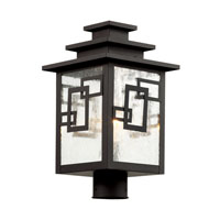 Trans Globe Geo Tempo 1 Light Post Top Light in Weathered Bronze 40183-WB
