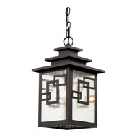 Trans Globe Geo Tempo 1 Light Outdoor Pendant in Weathered Bronze 40184-WB