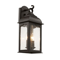 Seeded Masonic 2 Light 17 inch Rubbed Oil Bronze Outdoor Wall Lantern