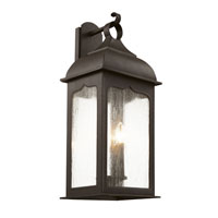 Seeded Masonic 3 Light 21 inch Rubbed Oil Bronze Outdoor Wall Lantern