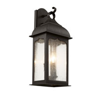 Seeded Masonic 3 Light 25 inch Rubbed Oil Bronze Outdoor Wall Lantern