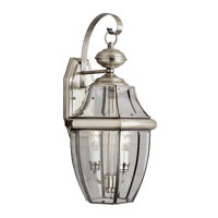 Glass House 2 Light 21 inch Brushed Nickel Outdoor Wall Lantern