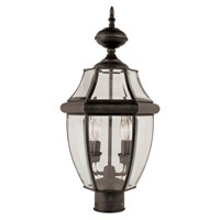 Trans Globe Lighting 4321-WB Glass House 2 Light 22 inch Weathered Bronze Post Lantern