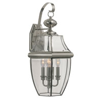 Glass House 3 Light 22 inch Brushed Nickel Outdoor Wall Lantern