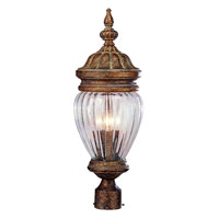 Antique Acorn 4 Light 27 inch Antique Gold Post Lantern