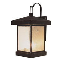 Trans Globe Traditional Seeded 3 Light Outdoor Wall Lantern in Weathered Bronze 45642-WB