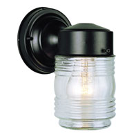 Trans Globe Jelly Jar 1 Light Outdoor Wall Lantern in Black 4900-BK