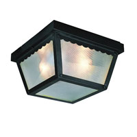 Smith 1 Light 8 inch Black Flush Mount Ceiling Light in White Frosted Glass Lightly Frosted
