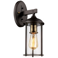 Blues 1 Light 16 inch Rubbed Oil Bronze and Antique Brass Outdoor Wall Lantern
