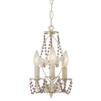 Trans Globe Lighting 50307-AW Crystal Garden 3 Light 7 inch Antique White Chandelier Ceiling Light