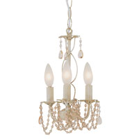Crystal Garden 3 Light 7 inch Antique White Chandelier Ceiling Light