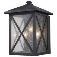 Trans Globe Lighting 50342-BK Leonis 3 Light 14 inch Black Outdoor Wall Lantern
