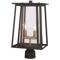 Trans Globe Lighting 50765-BK Geode 2 Light 20 inch Black Outdoor Postmount Lantern