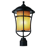 Trans Globe Lighting Craftsman 1 Light Post Lantern in Weathered Bronze 5253-WB