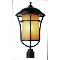 Trans Globe Lighting Craftsman 1 Light Post Lantern in Weathered Bronze 5256-WB