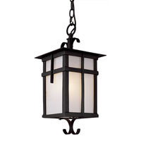 Trans Globe Lighting Craftsman 1 Light Outdoor Hanging Lantern in Black 5284-BK