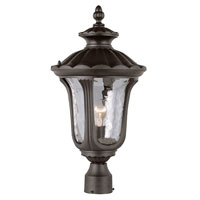 Trans Globe Rustic Contemporary 1 Light Post Lantern in Black 5913-BK