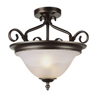 New Victorian 2 Light 17 inch Rubbed Oil Bronze Semi-Flush Mount Ceiling Light