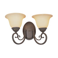 Double Scrolled 2 Light 16 inch Antique Bronze Wall Sconce Wall Light