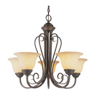 Trans Globe Double Scrolled 5 Light Chandelier in Antique Bronze 6525-ABZ