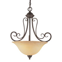 Double Scrolled 3 Light 19 inch Antique Bronze Pendant Ceiling Light