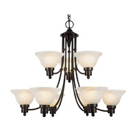 Trans Globe Lighting Contemporary 9 Light Chandelier in Weathered Bronze 6549-WB