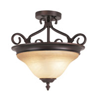 Victorian 2 Light 17 inch Rubbed Oil Bronze Semi-Flush Mount Ceiling Light