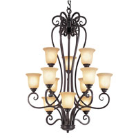 Trans Globe Iron Scroll 12 Light Chandelier in Burnished Rust 70297
