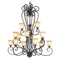 Trans Globe Iron Scroll 15 Light Chandelier in Burnished Rust 70298