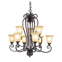 Trans Globe Lighting Taste of Elegance 9 Light Chandelier in Burnished Rust 70299
