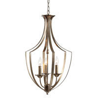 Trans Globe Iron Scroll 3 Light Pendant in Winter Gold  70300