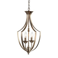 Trans Globe Iron Scroll 2 Light Foyer Pendant in Antique Silver Leaf 70301