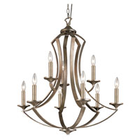 Trans Globe Iron Scroll 9 Light Chandelier in Antique Silver Leaf 70309