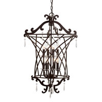 Trans Globe Iron Scroll 8 Light Foyer Pendant in Rubbed Oil Bronze 70318