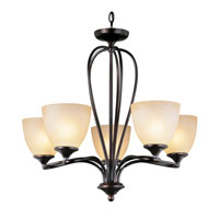 Trans Globe Pullman 5 Light Chandelier in Rubbed Oil Bronze 70375-ROB