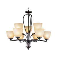Trans Globe Pullman 9 Light Chandelier in Rubbed Oil Bronze 70379-ROB